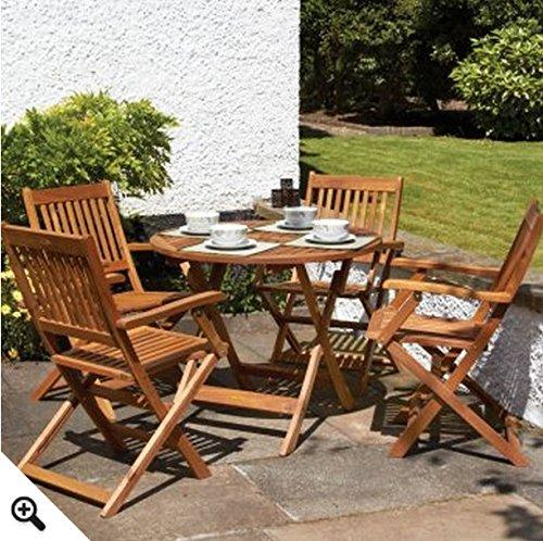 Runde Tisch Deck (4 Personen, runder Tisch 2 Stühle mit &Gartenmöbel-Set Bistro-Tisch, 5 Teile, Diese Gartenmöbel ist eine perfekte Ergänzung für jeden Garten oder Terrasse)