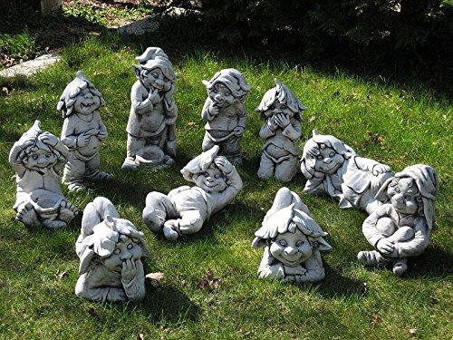 """D2298 Lustiger Gnom ,,ich sitze hier und warte"""" Troll Gartenfigur Steinfigur - 4"""