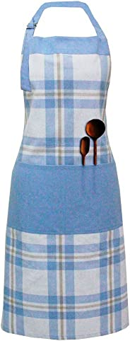 Milano Home Checkered 100% Cotton Apron with Adjustable Neck & Side Pockets (Blue)