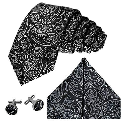 GASSANI Herrenkrawatte Schmal Paisley-Muster, Schwarze Silbergraue Hochzeitskrawatte Gemustert, Einstecktuch Manschettenknöpfe Z. Hochzeits-Anzug - Satin Anzug