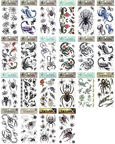 5 x Spider Scorpion Insekten Creepy Scary temporäre Tattoos Fancy Kleid Tattoo Halloween Body Art Make-up (Pirate Halloween-make-up)