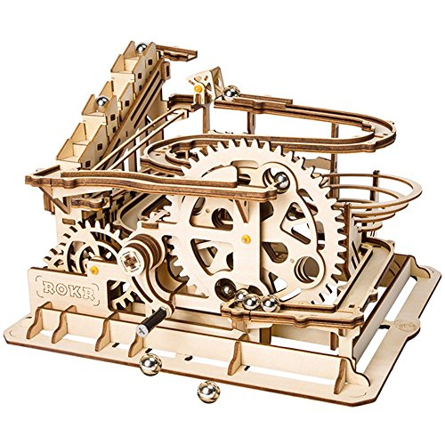 LHYP 3D-Holz Puzzle Mit Zahnrad-Hand-Craft-Tracks Mit Zubehör Mechanische Modellbausätze, Geburtstag/Kindertage/Ostern (Waterwheel Coaster)