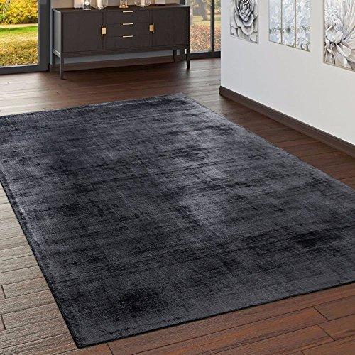 Paco Home Teppich Handgefertigt Hochwertig 100% Viskose Vintage Optisch Meliert Anthrazit, Grösse:10x10 cm Musterstück - Viskose-teppich