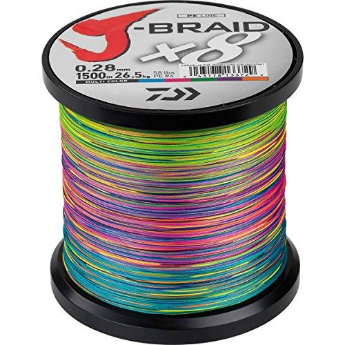 Daiwa J-Braid X8 0.20mm, 13,0kg/29,0lbs, 1500m multi colour - geflochtene Angelschnur
