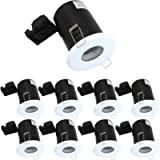8X IP65 Bathroom Fire Rated Downlights White GU10 Recessed Ceiling Down Lights Spotlights Fittings 240V ,Bulbs Not…