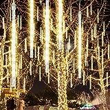 GPODER 50CM Meteorschauer Lichter, 576 LEDs Meteorschauer Regen Lichter, 12 Wasserdicht Spiralig Tubes Meteor Lichterkette für Weihnachtsdekoration, Garten, Aussen und Party(Warmweiß)