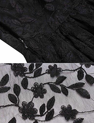 Keland Damen Vintage 1/2 Ärmel Stickerei Spitzenkleid Hochzeitskleid Festlich Elegant Party Abendkleid knielang Ballkleid Schwarz