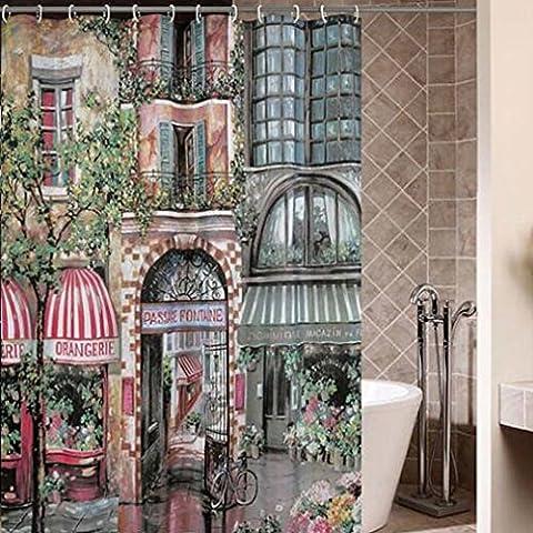 Kinlo Tende da doccia città giardino, impermeabile, facile da pulire, plastica - PEVA per bagno con 12 gancio 180cm larghezza* 200cm