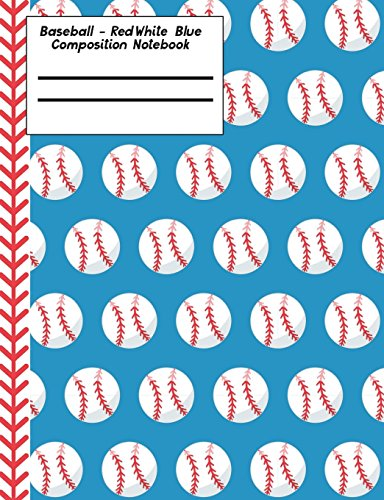 Baseball Red White Blue Composition Notebook - 4x4 Graph Paper: 130 Pages 7.44 x 9.69 Quad Ruled Pages School Teacher Student Game Player Coach Subject Math Diagram por Rengaw Creations