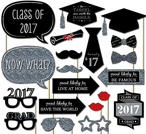 otorequisiten 20 Stück 2017 Absolvent-Party Photo Booth Props auf einem Stock DIY Kits Abschlussfeier Mittel (Photo Booth-requisiten Für Die Graduierung)