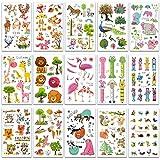 SZSMART Zoológico Tatuaje Temporale, Animal Falso Tatuaje Pegatinas para Niños Niñas, Impermeables Tatuajes Tattoos Juegos Infantiles Fiesta de Cumpleaños Regalo,12cm*7.5cm