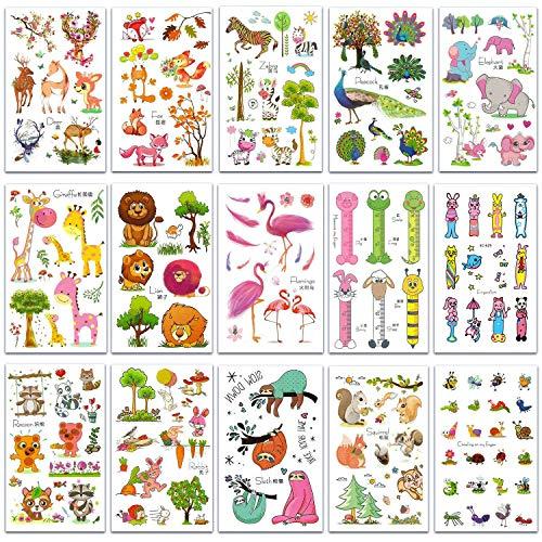 Animale tatuaggi temporanei per bambini (15 foglio), falso tatuaggi temporaneo tattoos adesivi, tatuaggi bambini per feste, colori divertenti dei cartoni animati regalo festa di compleanno giocattoli