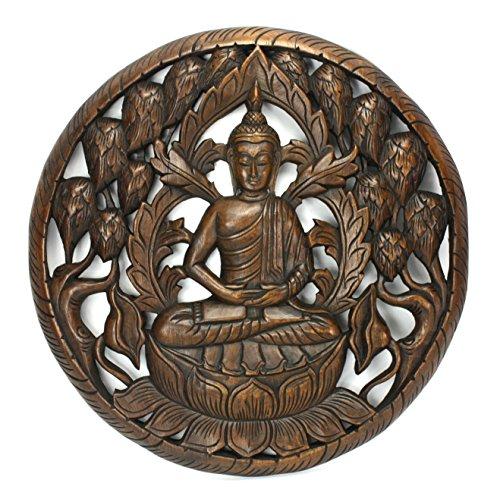 Thai legno Buddha, grande design circolare, 60cm,
