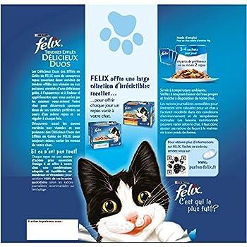 Felix Tendres Effilés en gelée Repas pour chat adulte Délicieux Duos 24 x 100 g - Lot de 4 (96 sachets fraîcheurs)