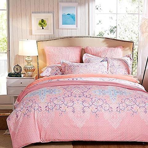 Hermoso de algodón floral reactiva cepillado de mezclilla de algodón ropa de cama de cama de tamaño de las clases 1.5-1.8m impresa , C , king