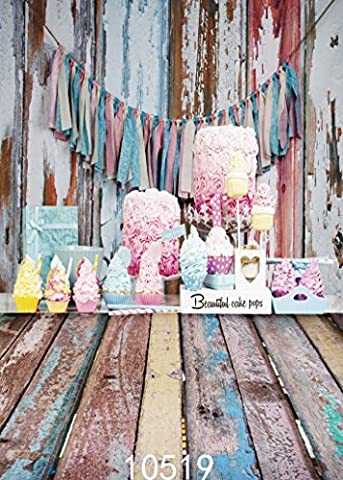 Sunny Star 5X7FT/150X210cm Valentine's Day Cakes Wood Floor Thin Vinyl Seamless Photo Backdrops Customized Studio Background Studio Props For Studio/Party/ Decorations 10519