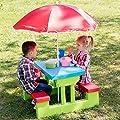 TecTake Kindersitzgruppe für bis zu 4 Kinder inkl. Sonnenschirm 2 Bänke + Tisch von TecTake - Gartenmöbel von Du und Dein Garten