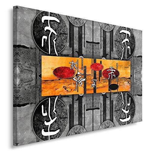Feeby Frames, Cuadro en lienzo, Cuadro impresión, Cuadro decoración, Canvas de una pieza, 70x100 cm, CARACTERES JAPONESES, CIRCULOS, ABSTRACCIÓN, BLANCO Y NEGRO, NARANJA