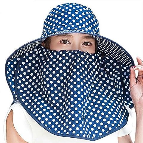 Siggi Femme Capeline Pliable Chapeau de Soleil Réglable Masque Large Bord Echarpe Eté Jardin UPF Bleu Marine