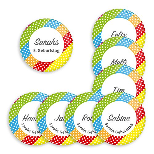 8er Set personalisierbare Buttons für feierliche Anlässe - Geburtstag - Taufe - Babyparty - als Mitbringsel oder Geschenk für Freunde und Familie (38mm mit Magnet Anstecker) Motiv bunte Streifen