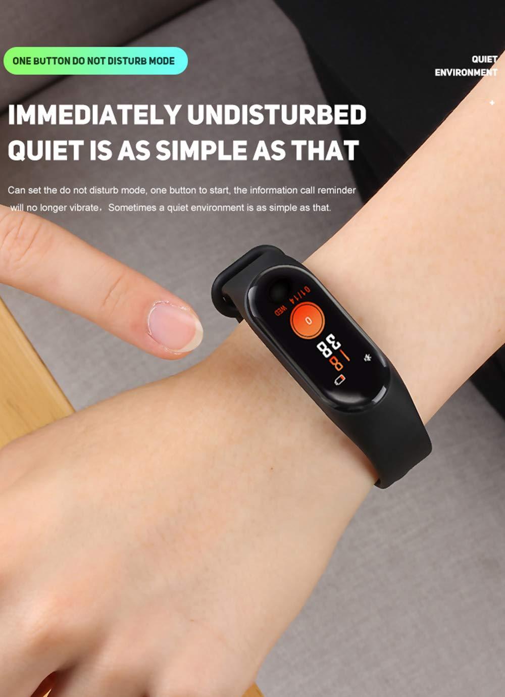 BATHRINS Pulsera Inteligente de Seguimiento de Fitness, M3 IPS, Pantalla Impermeable IP68 Pulsera de Actividad con Monitor de presión Arterial de precisión HR para Android iOS 4