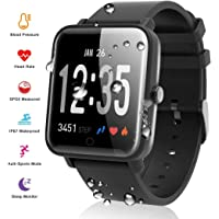 Smartwatch Smart Armbanduhr Wasserdicht IP67 Smart Watch sports watch Fitness Tracker mit Pulsmesser Aktivitätstracker Fitness Uhr mit Schrittzähler,Schlaf-Monitor,Stoppuhr für Android iOS Handy
