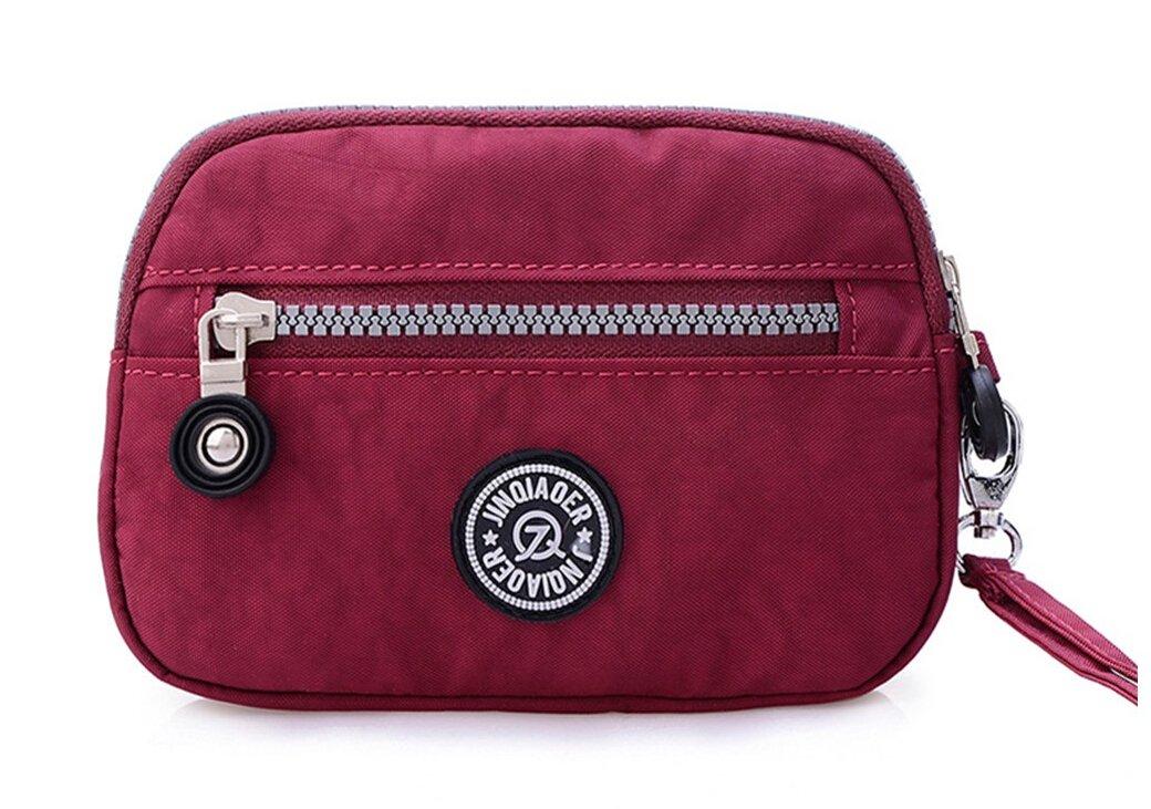 3315efa0a4 Tiny Chou Dual Layers Zipper Purse Waterproof Nylon Wristlet Bag Clutch  Handbag
