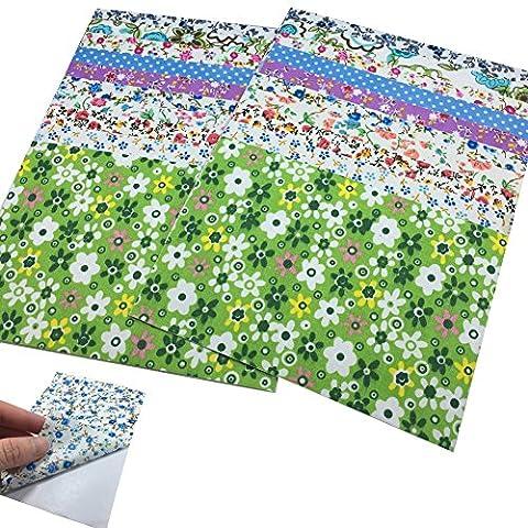 Lot de 20 feuilles 10 x 15 cm Sticker Autocollant Panneau Art Floral Tissu couture Scrapbooking papier collant couleurs assorties Patterns DIY Hobby