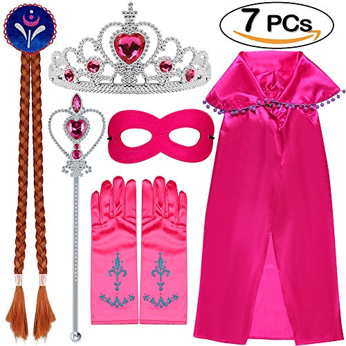 ieh Zubehör Set 7 Stück Set Tiara Krone Perücke Zauberstab Handschuhe Umhang Maske Kits für Mädchen Rose Red (Prinzessinnen Anzieh)