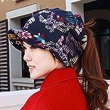 LIUXINDA-MZ Hat, Female Nationality, Wind, Multi-Functional Scarf Cap, Baotou Ear Cap, Soft Edge, Personalized Cap, Cap,Blue