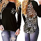 Eleery Fashion Women Sexy Colorblock Leopard Bust Pocket O Neck Long Sleeve Casual T Shirt Tops Loose Blouse Plus Size (UK 16-Tag Size XXL, Black and Leopard)