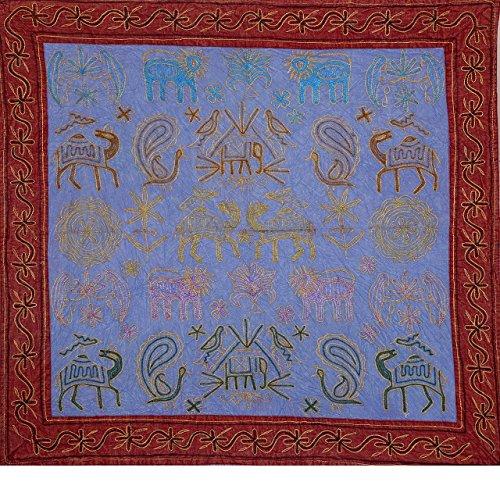 Indian Beautiful Animal Print bestickt Wandbehang Wandteppich, Baumwolle handgefertigt Poster Wandbehang, Abendessen Room Decor, Überwurf Tischläufer 86,4x 91,4cm von bhagyoday Fashions (Zoll 36 Tischläufer)