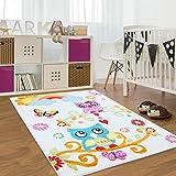 Kinder Teppich Moda Öko Tex Eule creme bunt verschiedene Größen 80x150 cm