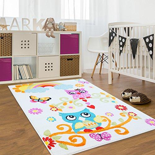 Alfombra infantil, Öko Tex, búho, multicolor, crema, verde, turquesa, rosa y naranja, diferentes tamaños, beige, 120 cm_x_160 cm