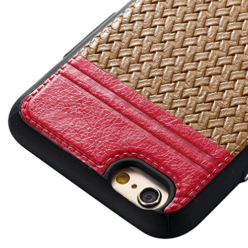 EKINHUI Case Cover Mischfarben Weaving Pattern PU Leder Skin Cover Shell Soft TPU / Silikon Rückseiten Cover Case für iPhone 6 & 6s ( Color : J ) E