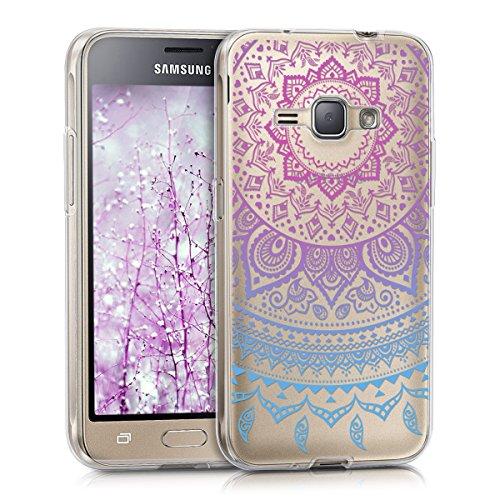 kwmobile Samsung Galaxy J1 (2016) Hülle - Handyhülle für Samsung Galaxy J1 (2016) - Handy Case in Blau Pink Transparent