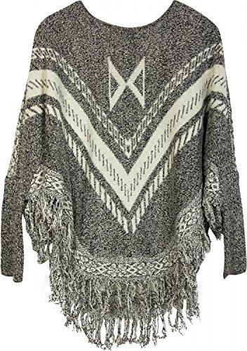 styleBREAKER Feinstrick Poncho mit Azteken Muster, Fransen und Ärmeln, Rundhals, Damen 08010032, Farbe:Grau-Weiß