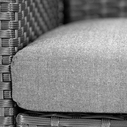 Rattanset 4tlg Sitzecke mit Tisch mit 2 Sessel und 1 Sofa Garnitur Sitzgruppe Polster grau Terrasse Gartenmöbel Poly Rattan Sicherheitsglas Lounge In/Outdoor 4-Sitzer 4-teilig - 8