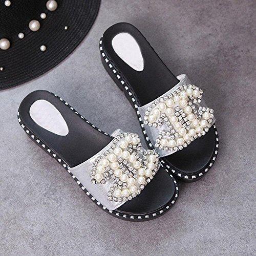 Damenmode Perle Gelee Pantoffeln weiblichen Sommer Strand beiläufige flache Sandalen Silver