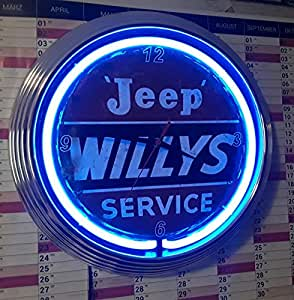 neon clock neonuhr jeep willys service wanduhr beleuchtet. Black Bedroom Furniture Sets. Home Design Ideas