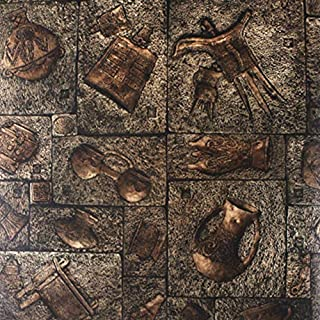 ZHAORLL Vintage Imitation Bronze Ancient Egyptian Carving Wallpaper Room Escape Cafe Winery Wine Culture PVC Wallpaper Non-Self-Adhesive 53CM*10M,B