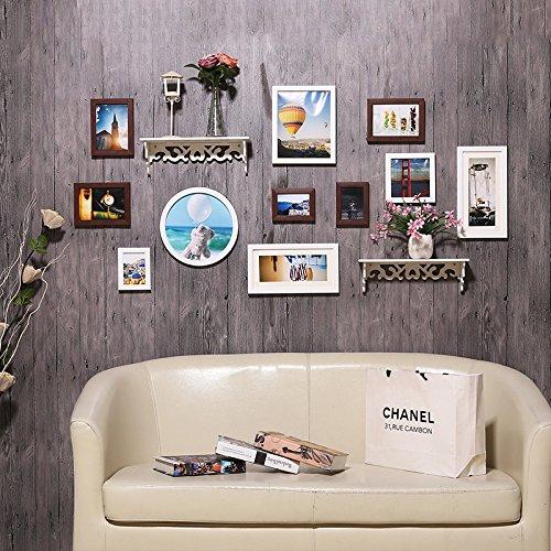 Hjky photo frame wall set creative foto an der wand nel soggiorno moderno minimalista cornice an der wand combinata parete attrezzata continental foto wall racks, bianco teak
