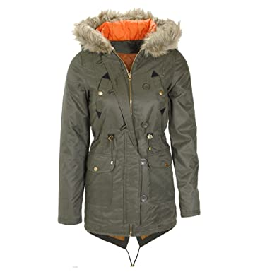 Women's Wax Parka Coat, Khaki, Air Force Blue, Sizes 8 to 16 (UK ...