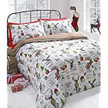 Navidad renos funda de edredón y 2funda de almohada juego de ropa de cama de funda nórdica Árbol de Navidad presenta calendario Kids