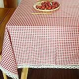 DKEyinx Gittermuster Tischdecke Home Tabelle Abdeckung Dekor Baumwolle Leinen Rechteck Mode, Baumwolle + Leinen 100cm x 140cm