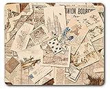 1art1 89649 Zeitungen - Französische Zeitungs-Collage Mit Postkarten, Vintage Style Mauspad 23 x 19 cm