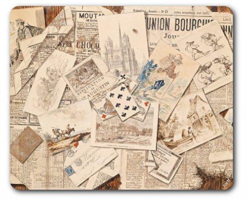 Preisvergleich Produktbild 1art1 89649 Zeitungen - Französische Zeitungs-Collage Mit Postkarten, Vintage Style Mauspad 23 x 19 cm