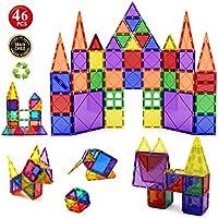 Children Hub 46pcs Magnetic Tiles Set - Building Construction Kit Toys For Your Kids (Stronger Magnets)