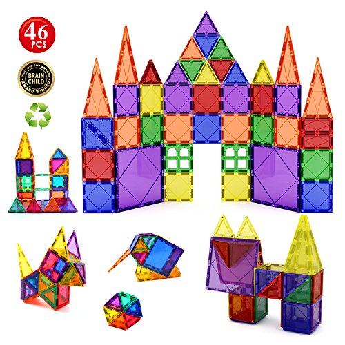 Children Hub 46pcs Magnetic Tiles Set - Building Construction Kit Educational STEM Toys For Your Kids (Stronger Magnets)