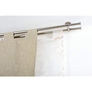 Bastone Tenda A Soffitto.Incasa Bastone Doppio Per Tende O 20 Mm Senza Anelli L 300 Cm In